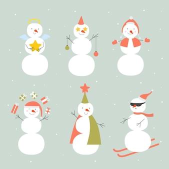 Conjunto de caracteres de muñeco de nieve de diseño plano