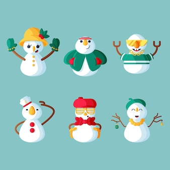 Conjunto de caracteres de muñeco de nieve de ilustración de diseño plano