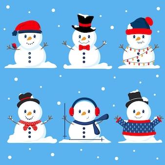 Conjunto de caracteres de muñeco de nieve plano