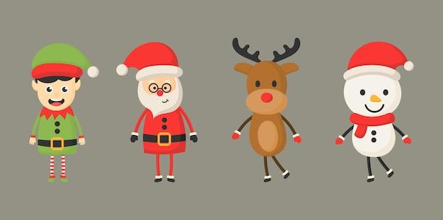 Conjunto de caracteres de navidad aislado en gris.
