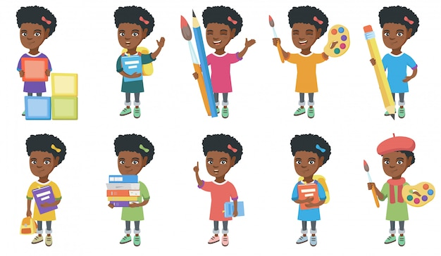 Conjunto de caracteres de niña africana