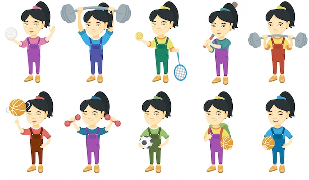 Conjunto de caracteres de niña asiática