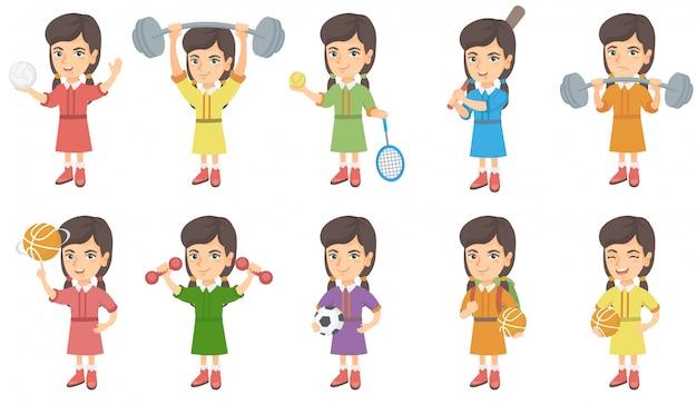 Conjunto de caracteres de niña caucásica