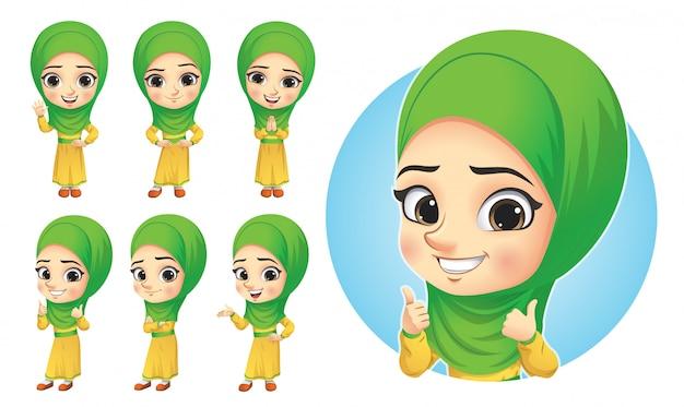 Conjunto de caracteres de niña musulmana