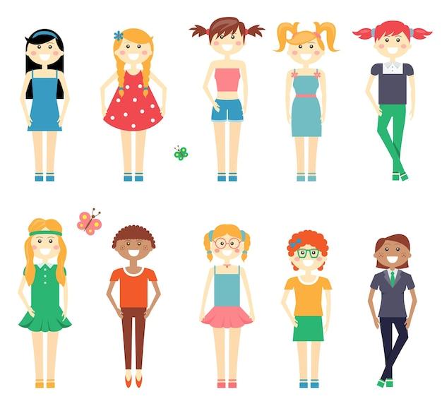 Conjunto de caracteres de niñas divertidas sonrientes con niñas de la escuela en vestidos cortos y pantalones pelirroja rubia y morena con diversos peinados aislados en blanco
