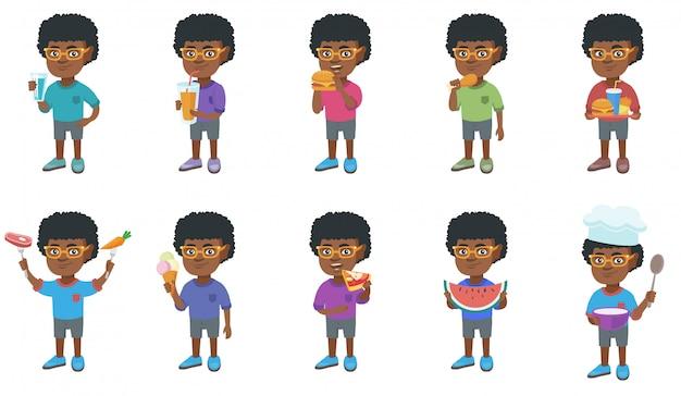 Conjunto de caracteres de niño africano pequeño