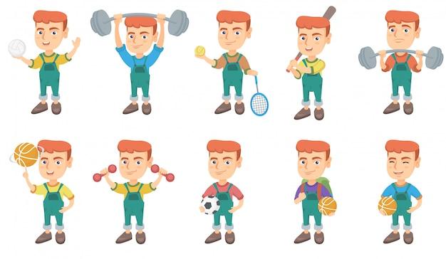Conjunto de caracteres de niño pequeño caucásico
