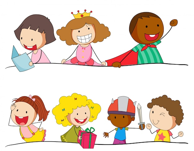 Conjunto de caracteres de los niños del doodle