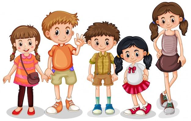 Conjunto de caracteres de niños pequeños