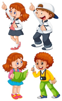 Conjunto de caracteres para niños.