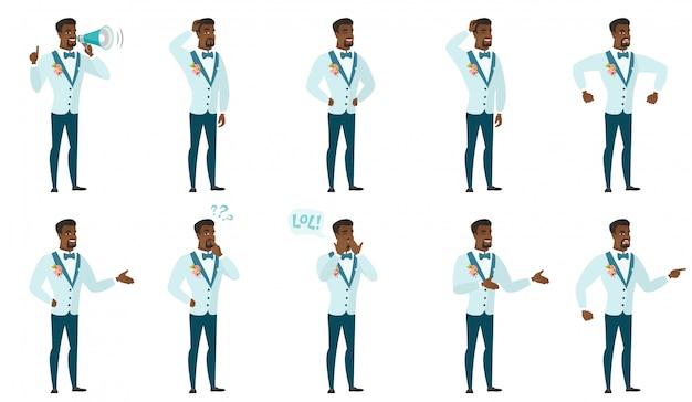 Conjunto de caracteres de novio.