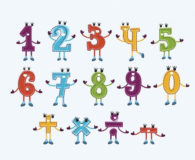 Conjunto de caracteres numéricos y letreros con caras sonrientes.