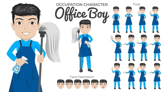 Conjunto de caracteres de office boy con variedad de poses y expresiones faciales