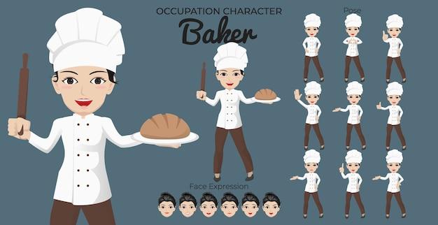 Conjunto de caracteres de panadero femenino con variedad de poses y expresiones faciales