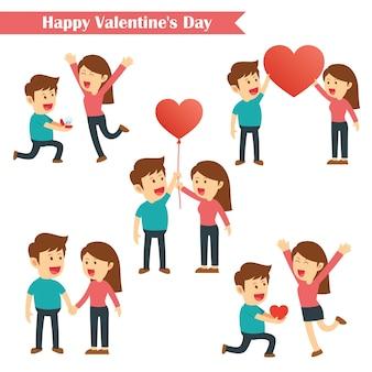 Conjunto de caracteres parejas feliz día de san valentín aislado sobre fondo blanco.