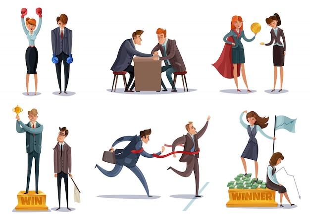 El conjunto de caracteres perdedores del inversor ganador de negocios conjunto de imágenes aisladas con caracteres de estilo garabato entran en competiciones deportivas