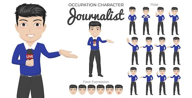 Conjunto de caracteres de periodista masculino con variedad de poses y expresiones faciales
