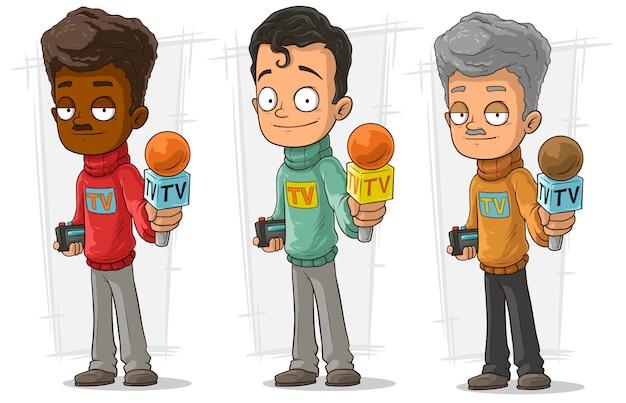 Conjunto de caracteres de periodista de televisión de dibujos animados