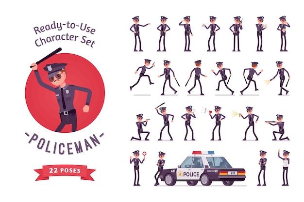 Conjunto de caracteres de personaje de policía