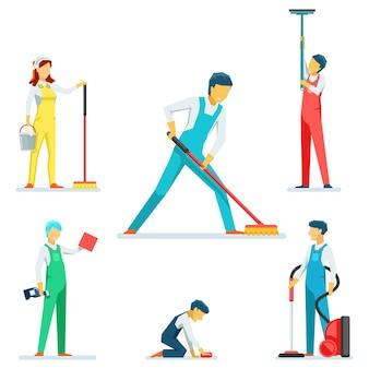 Conjunto de caracteres de personal de limpieza o limpiadores.
