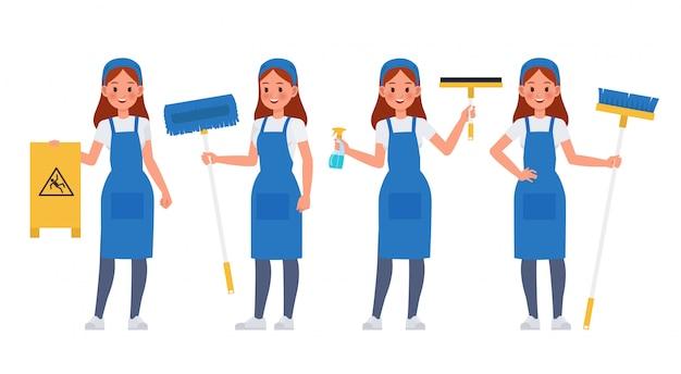 Conjunto de caracteres del personal de limpieza