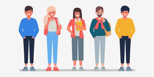 Conjunto de caracteres de personas becadas.