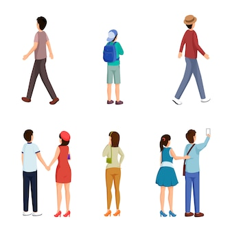 Conjunto de caracteres de personas de diferentes edades
