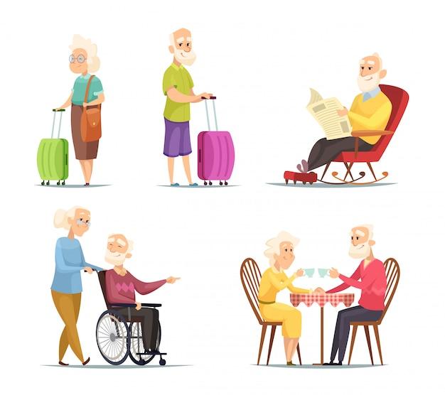 Conjunto de caracteres de personas mayores
