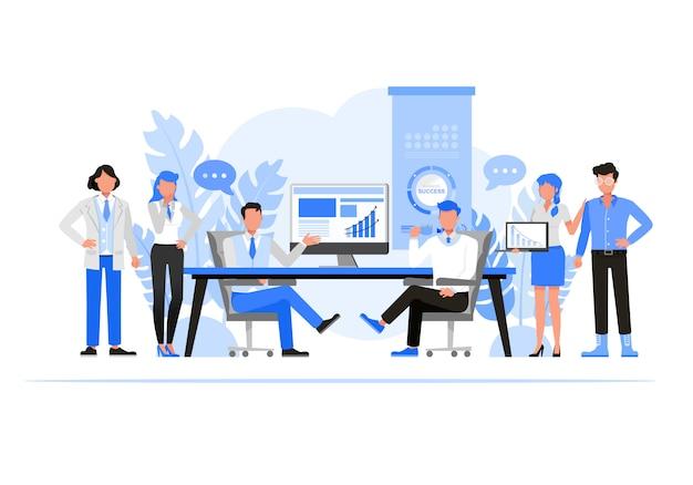 Conjunto de caracteres de personas de negocios. concepto de empresas comerciales.