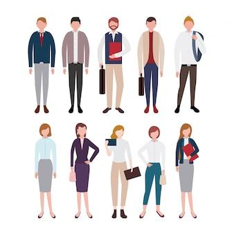 Conjunto de caracteres de personas de negocios