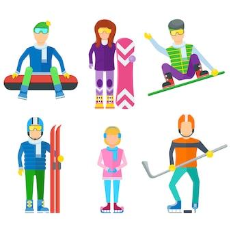 Conjunto de caracteres de personas de ocio activo