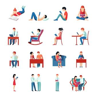 Conjunto de caracteres planos leyendo personas