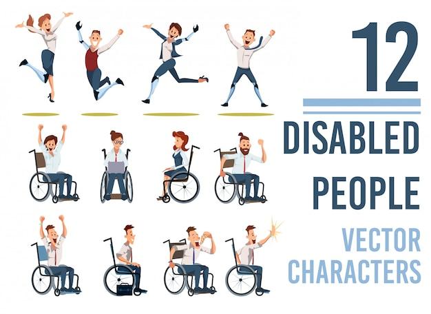 Conjunto de caracteres planos de personas discapacitadas felices