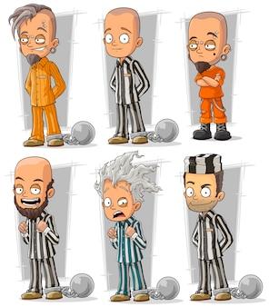 Conjunto de caracteres de prisioneros de dibujos animados con cadenas