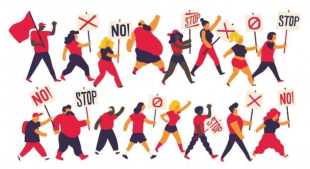 Conjunto de caracteres de protesta de demostración