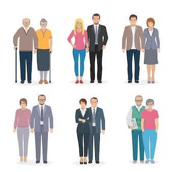 Conjunto de caracteres que representa a una pareja familiar en la ilustración de vector de diferentes edades