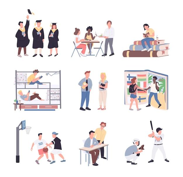Conjunto de caracteres sin rostro de color plano de estudiantes universitarios. los estudiantes aislaron ilustraciones de dibujos animados sobre fondo blanco. estilo de vida universitario. estudiar, dormitorio, deporte, comunicación y graduación