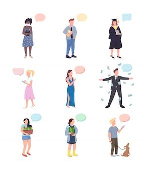 Conjunto de caracteres sin rostro de conversación de color plano. jardinero con cactus. propietario del perro. mujer con champagne. las personas con burbujas de discurso aislaron ilustraciones de dibujos animados sobre fondo blanco.