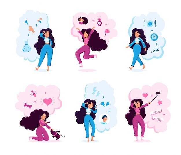 Conjunto de caracteres de rutina diaria de mujer joven