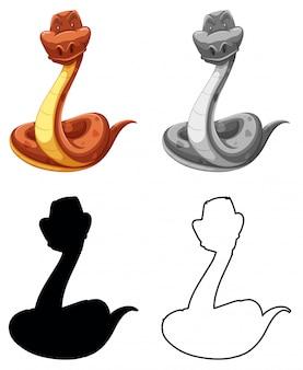 Conjunto de caracteres de serpiente.