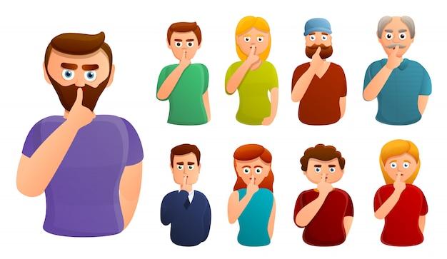Conjunto de caracteres de silencio, estilo de dibujos animados