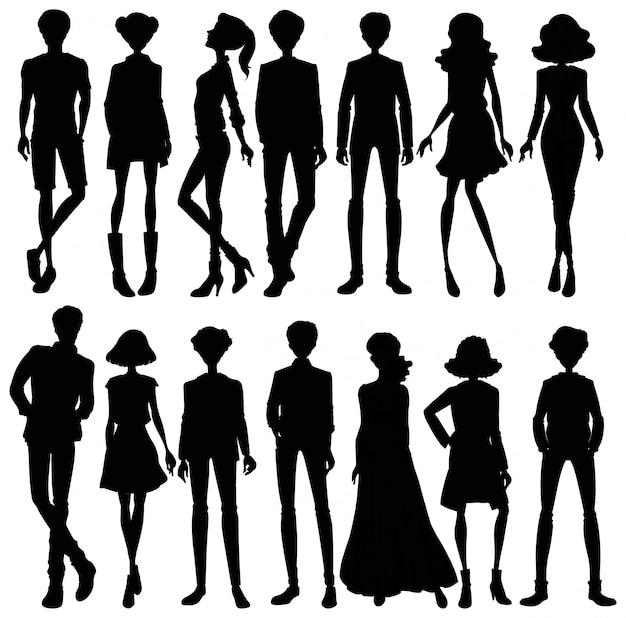 Conjunto de caracteres de silueta de personas