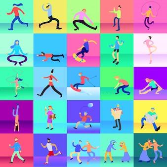 Conjunto de caracteres de temporada de temporada de verano en diseño plano de ilustración de parque