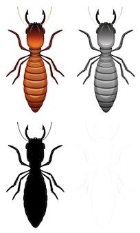 Conjunto de caracteres de termitas.