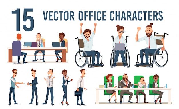 Conjunto de caracteres de trabajadores de oficina de empresa