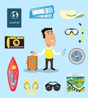 Conjunto de caracteres de vacaciones o viajero de negocios.