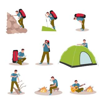 Conjunto de caracteres de vacaciones de senderismo aislado sobre fondo blanco.
