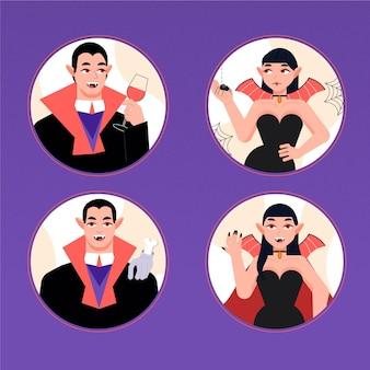 Conjunto de caracteres de vampiro de diseño plano