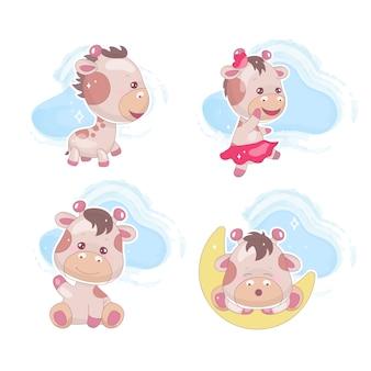 Conjunto de caracteres de vector de dibujos animados lindo kawaii jirafa