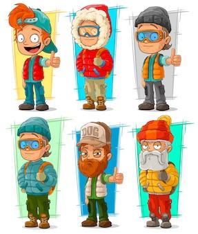 Conjunto de caracteres de viajero turístico de dibujos animados